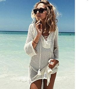 Crochet Swimsuit Cover up in off white tie front